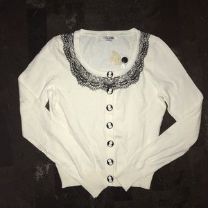 NWT Forever 21 Cream Black Cameo Lace Cardigan